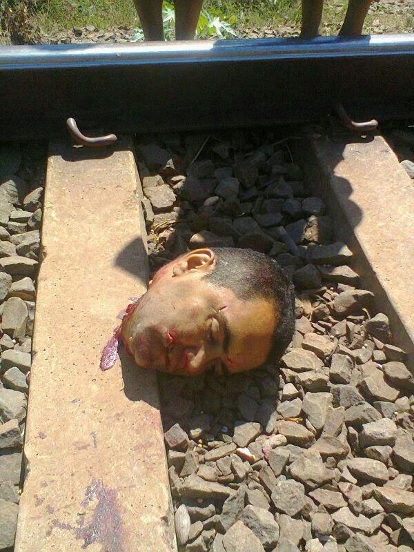 電車に吹っ飛ばされた飛び込み自殺者の頭部