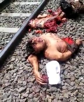 電車へ飛び込んでバラバラになった自殺者の死体