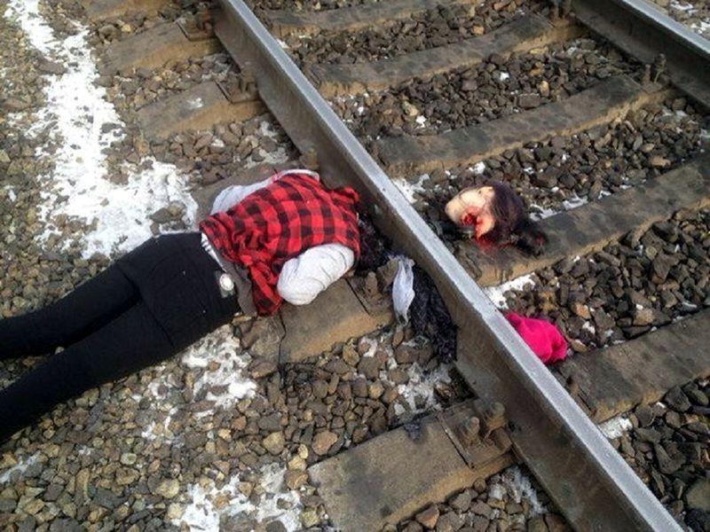 頭部ガズバッと切られている女の投身自殺者