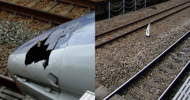 飛び込み自殺者が激突して破損した高速鉄道の前の部分